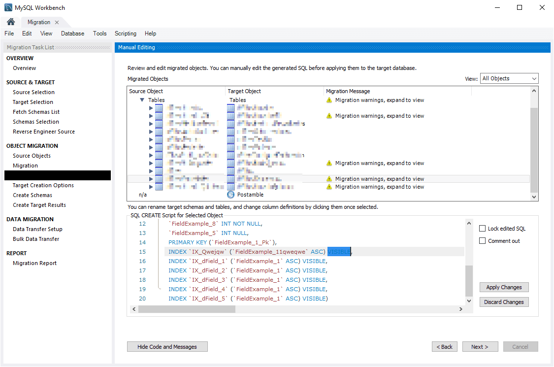 Manual Editing SQL Script Migration MySQL Workbench