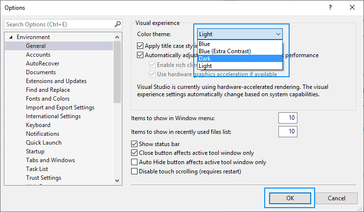 Select Color Schema of Visual Studio Dark, Light and Blue
