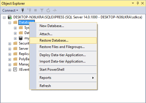 Restore Database Context Menu SQL Server