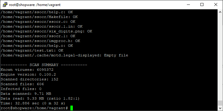 Clam AV Scan Result from the CLI