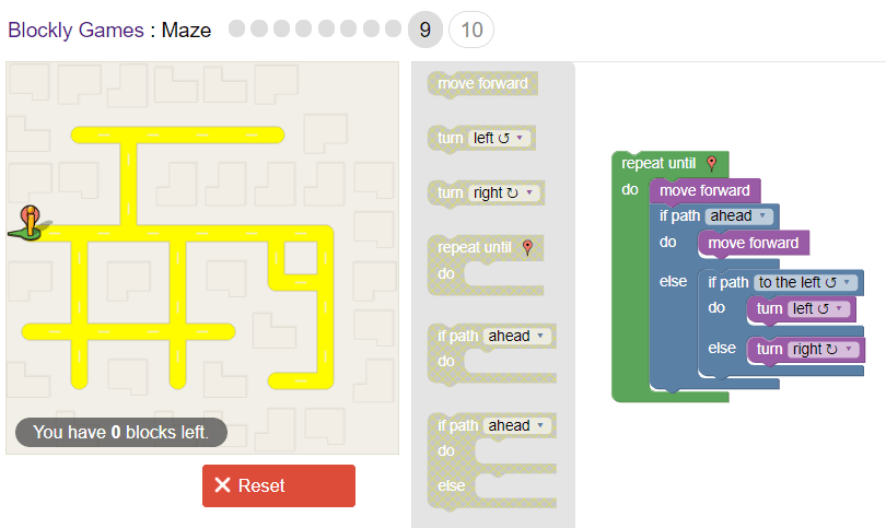 Google's Blockly Maze Game Level 9