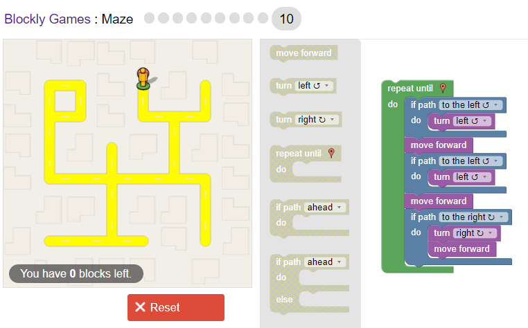 Google's Blockly Maze Game Level 10