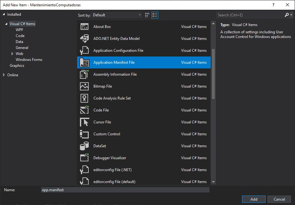 Add Application Mannifest To WinForms