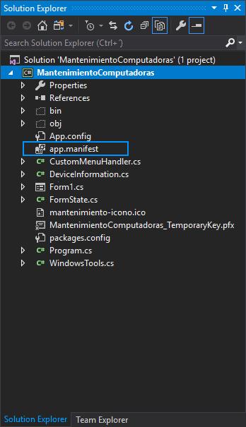 Solution Explorer C# WinForms