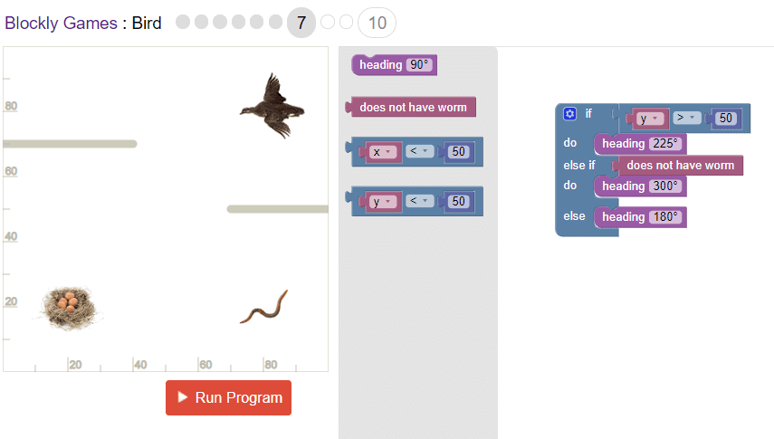 Google's Blockly Bird Game Level 7