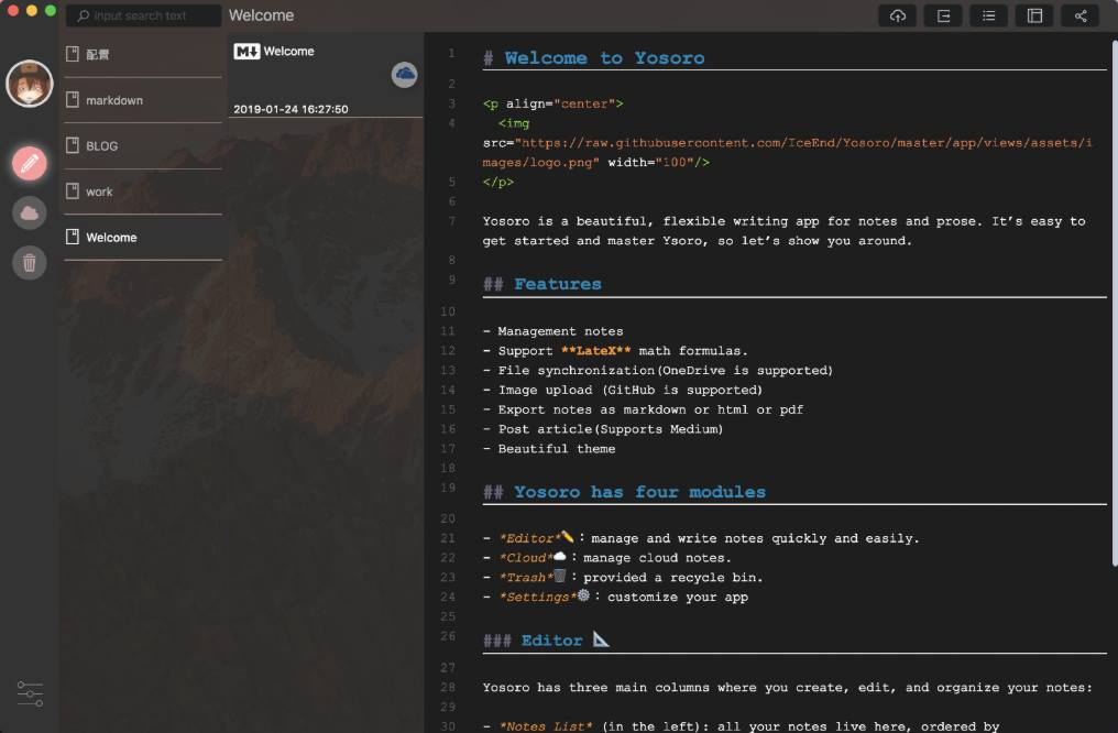 Yosoro Beautiful Markdown NoteBook Desktop App
