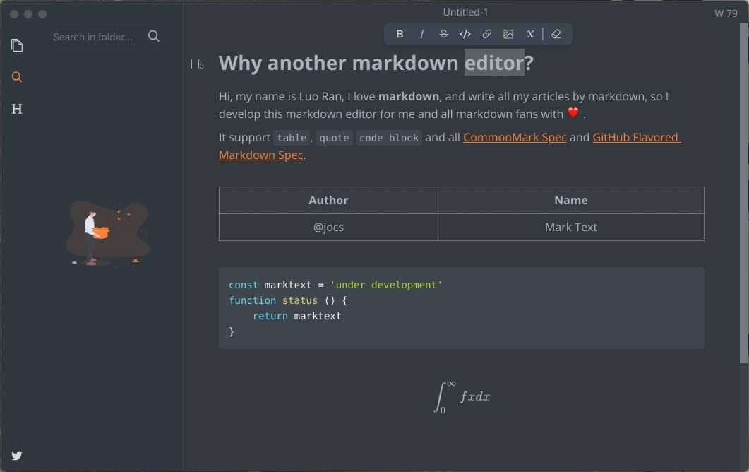 Marktext A simple and elegant markdown editor, available for Linux, macOS and Windows