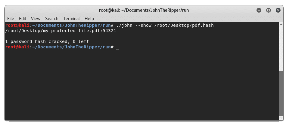 JohnTheRipper Show Password Hash