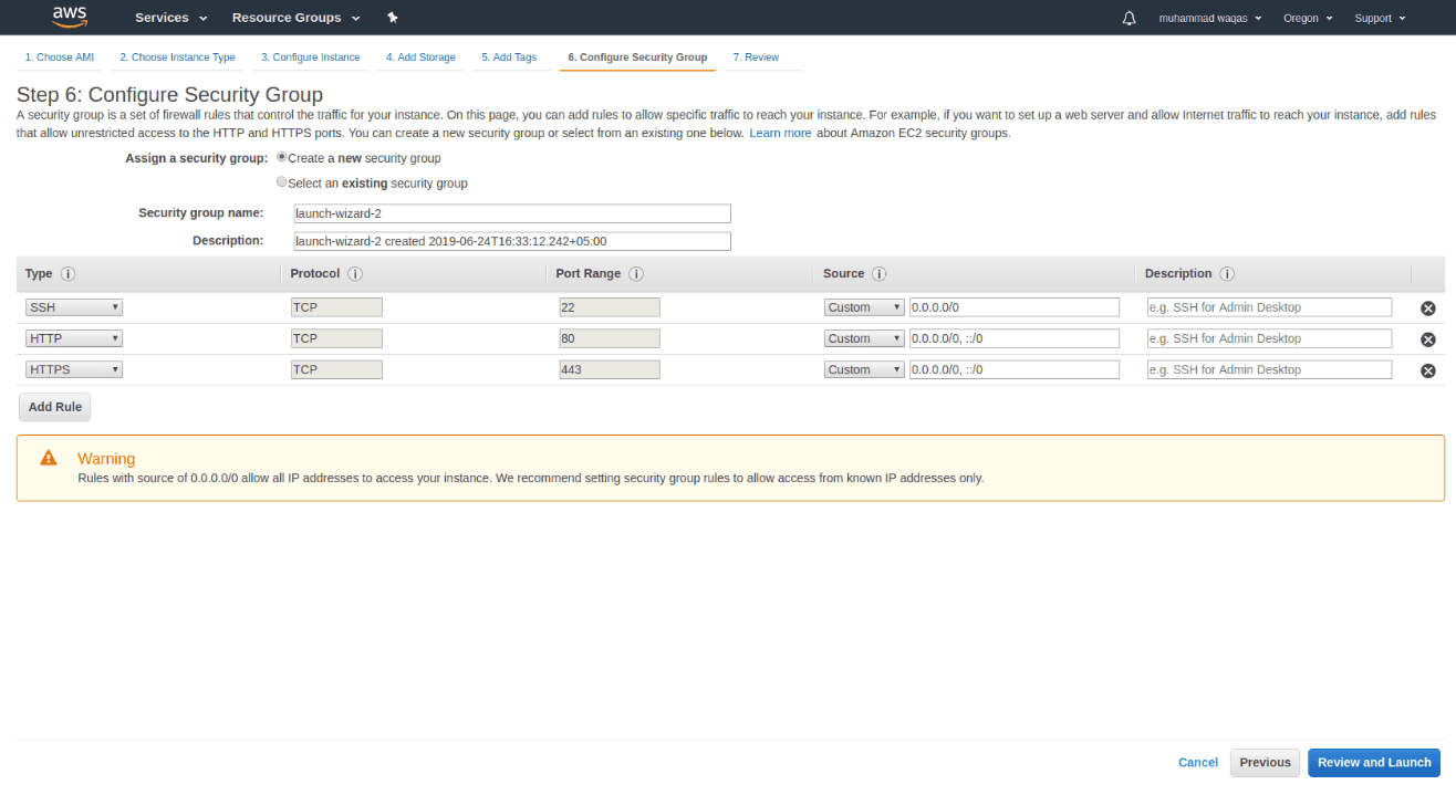 Security Groups AWS EC2 Server