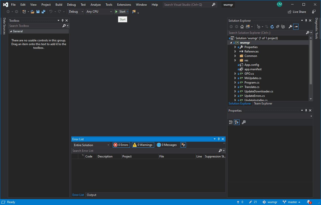 Visual Studio WuMgr