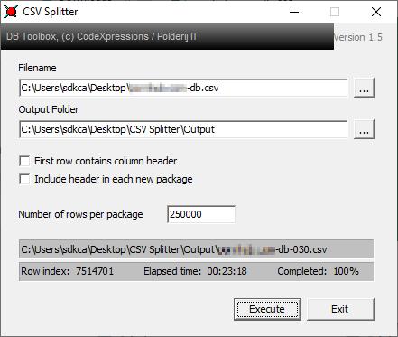 CSV Splitter Windows 10