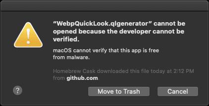 MacOS Catalina WebPQuickLook