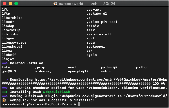 Install WebPQuickLook through Brew