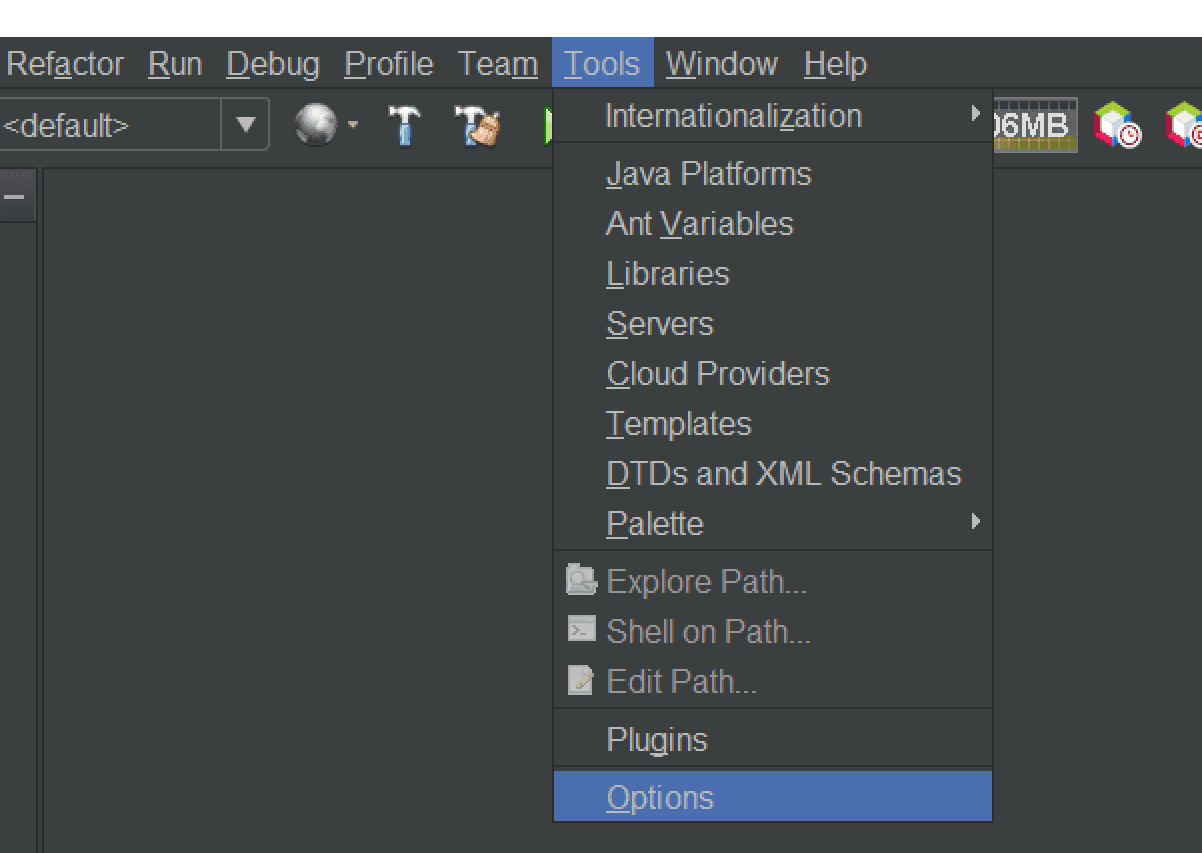 Options Menu NetBeans