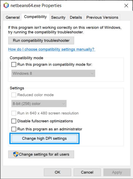 High DPI settings