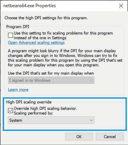 Override HDPI Scaling behaviour Windows