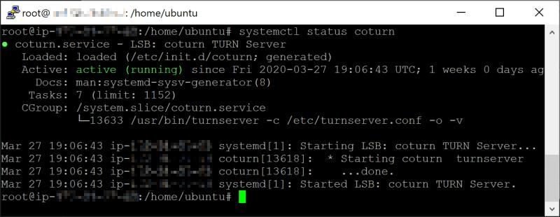 Coturn Service Daemon Ubuntu 18.04