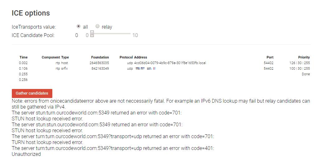 Result Testing WebRTC Trickle ICE Servers