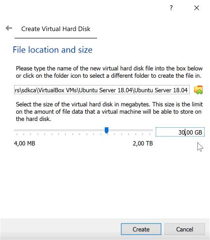 Hard Disk Size VirtualBox
