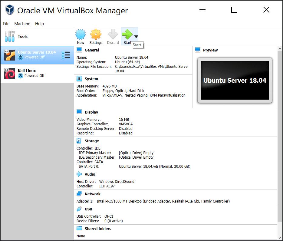 Virtual Machine Start VirtualBox