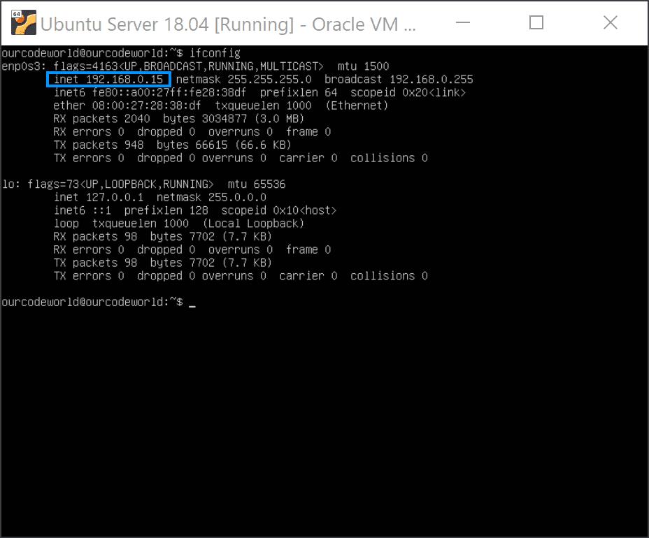 Ubuntu Server VirtualBox ifconfig