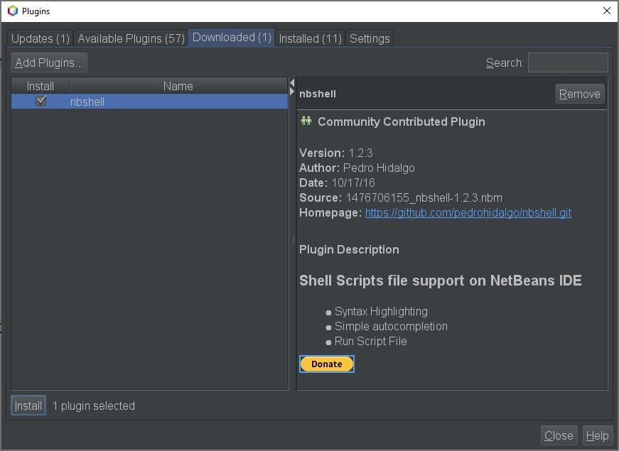 NBShell Install Plugin NetBeans
