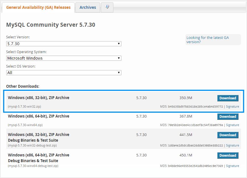 MySQL Download Page List