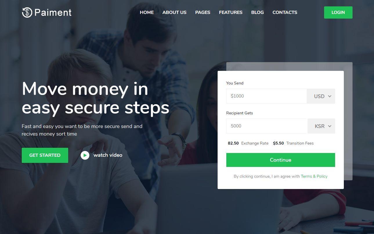 Paiment Premium Money Transfer Template