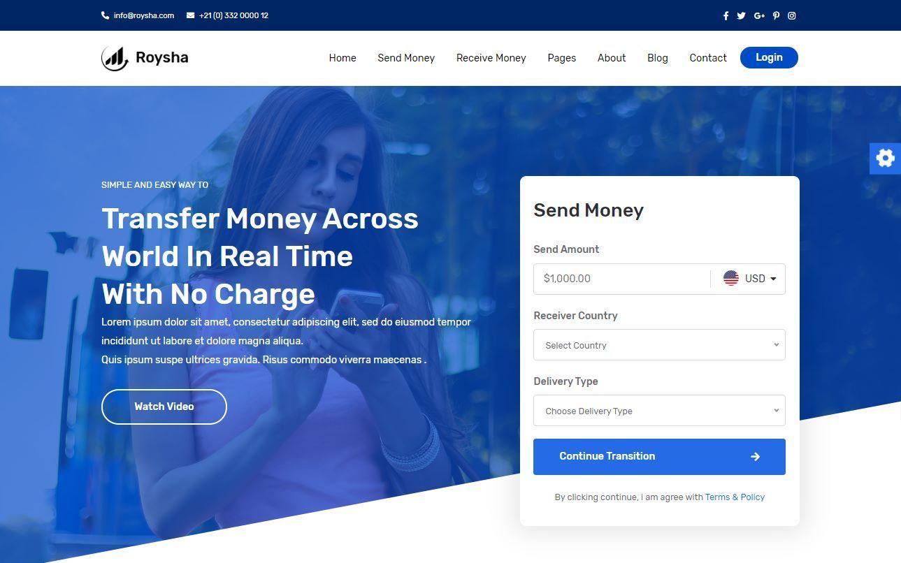 Roysha Premium Money Transfer Template