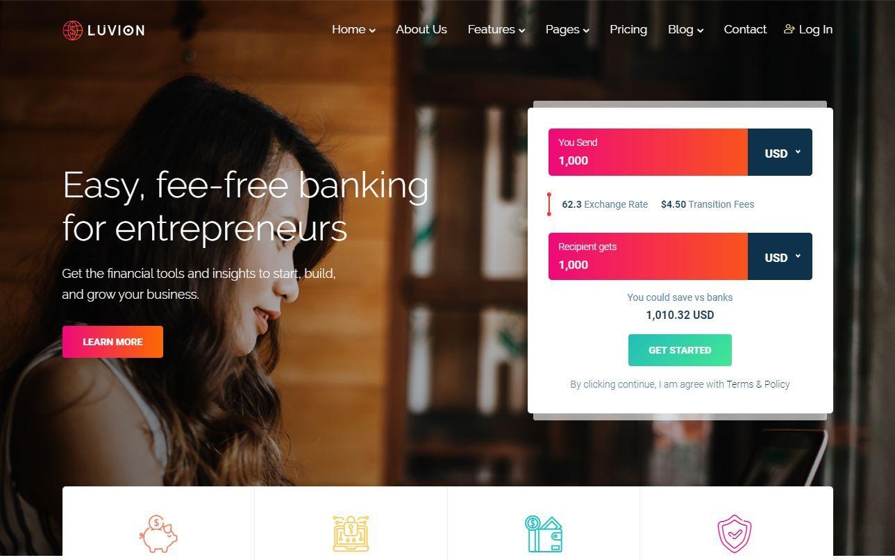 Luvion Money Transfer HTML Template