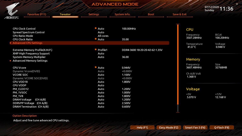 Aorus Tweaker CPU Advanced Settings