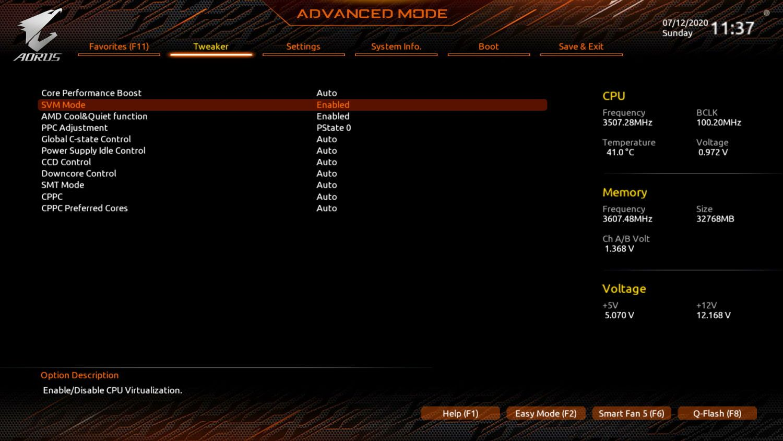 AMD Virtualization Enabled Aorus x570 Elite