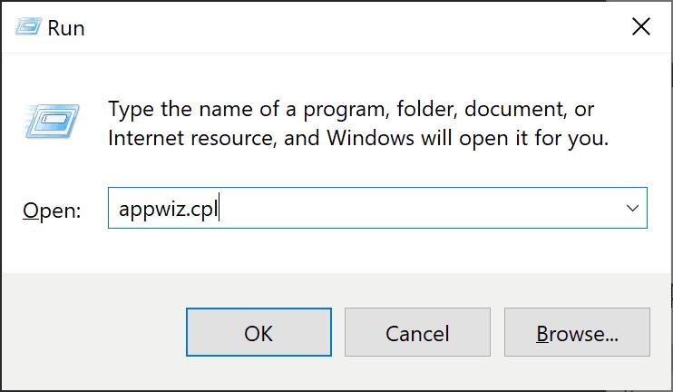 Windows 10 appwiz.cpl Virtualization