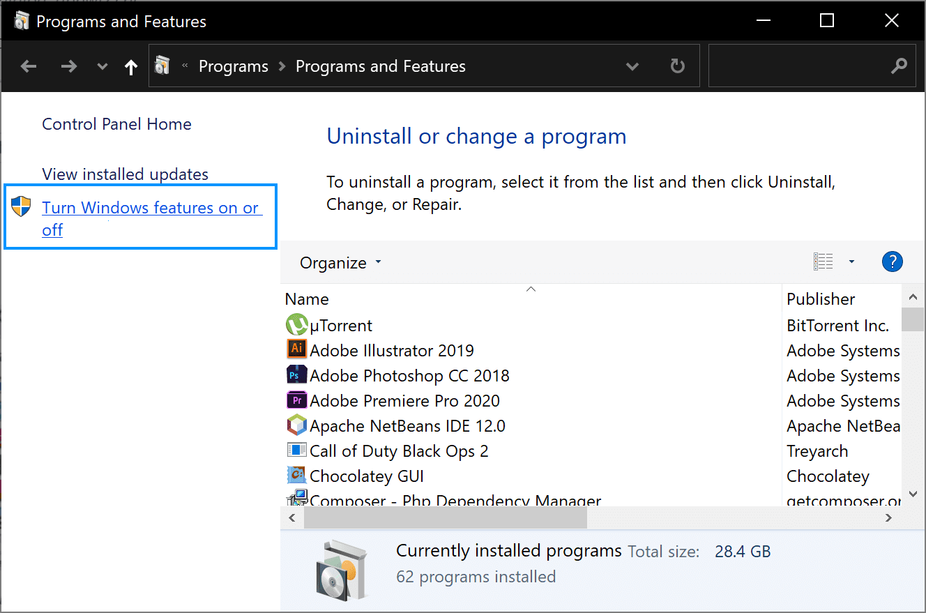 Turn Windows Features ON/OFF