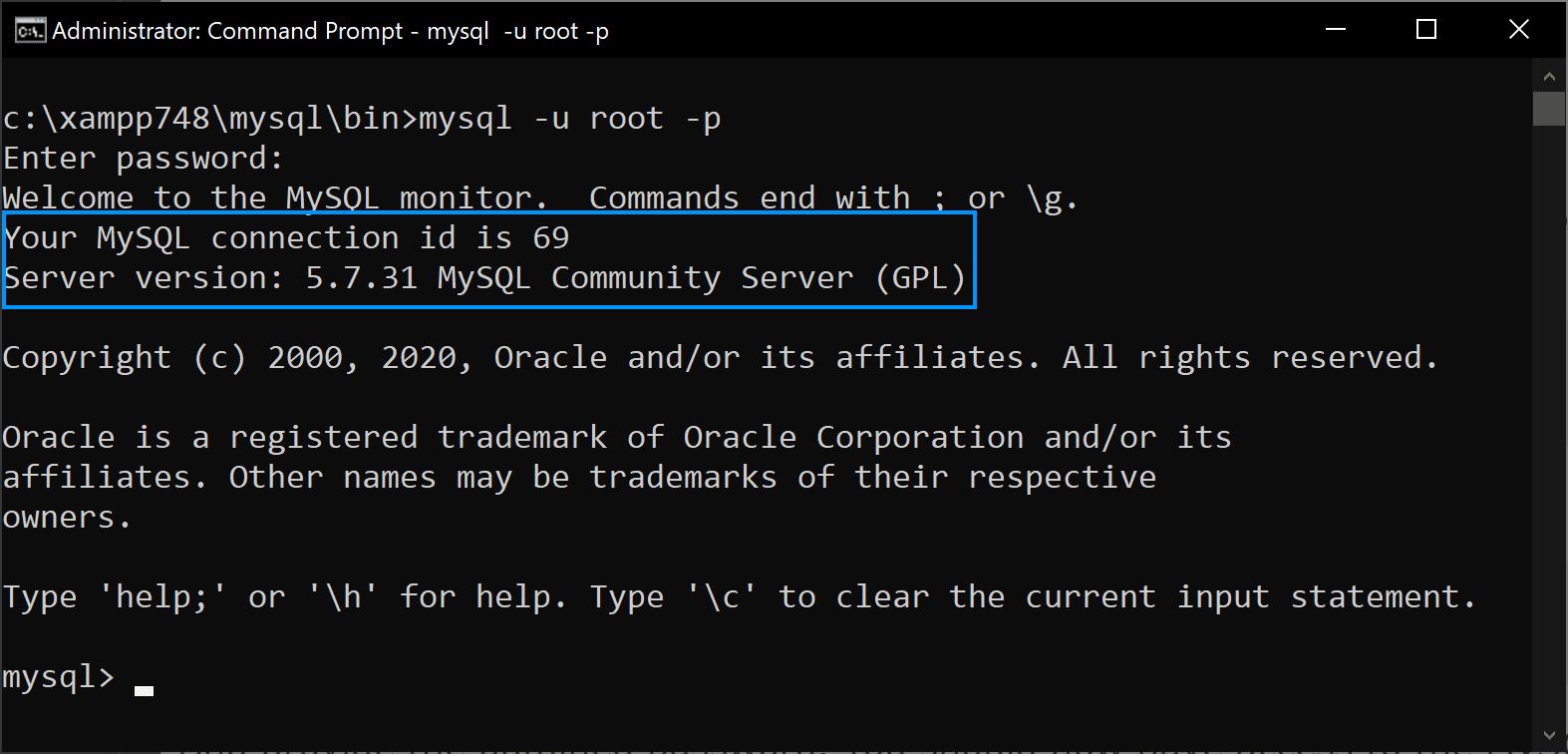 MySQL 5.7 Xampp Windows 10