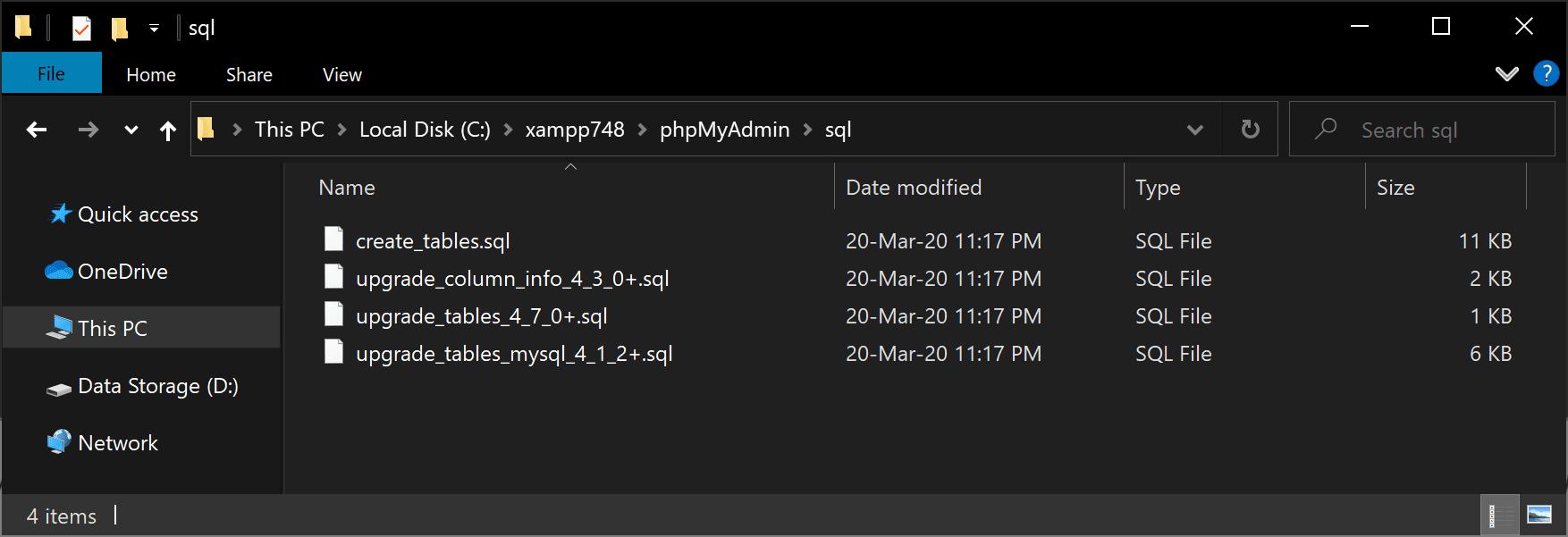 PHPMyAdmin MySQL databases